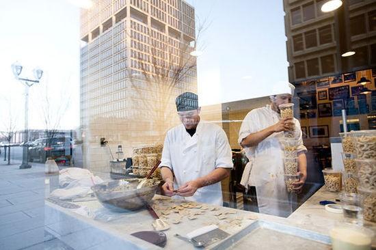 Pasta makers Greg Reece and Mike McManus at work at Pastaria. - JENNIFER SILVERBERG