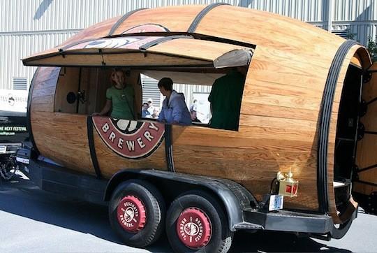 The giant beer barrel, Woody | image via Deschutes