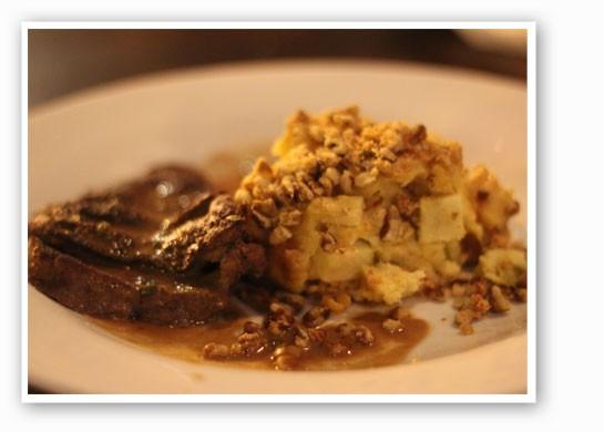 Maker's Mark bourbon and brown sugar flat-iron steak with apple black walnut bread pudding. | Nancy Stiles