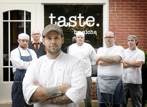 The crew, starting in front, going clockwise, owner/chef Gerard Craft, chef de cuisine Adam Altnether, mixologist Ted Kilgore, cook Nick Blue, pastry chef Mathew Rice and sous chef James Peisker. See a slideshow of photos from Taste by Niche. - PHOTO: JENNIFER SILVERBERG
