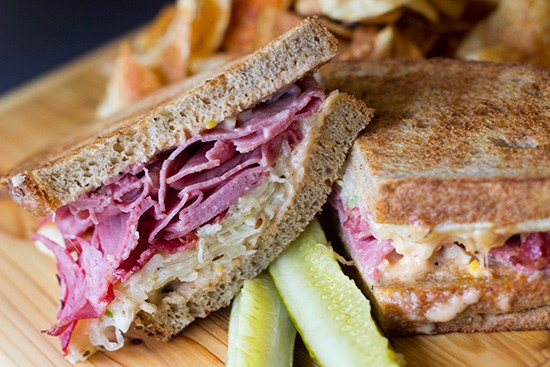 """""""McMurphy's Reuben"""" served with chips. 