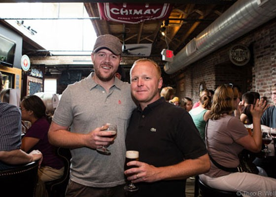 Cory King, left, with iTap owner Brad Lobdell at Firkin Fest. | Theo Welling