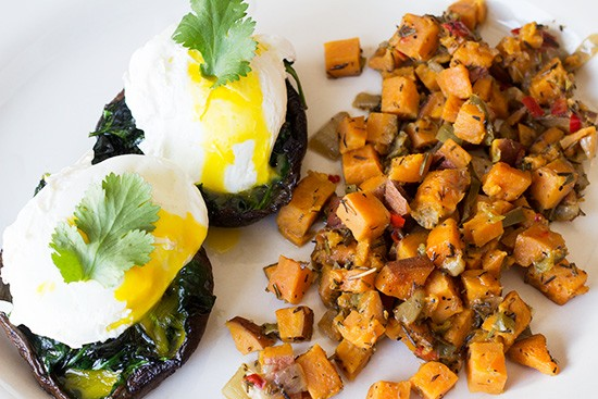 Portabella benedict with sweet-potato hash at the Corner Cup. | Mabel Suen