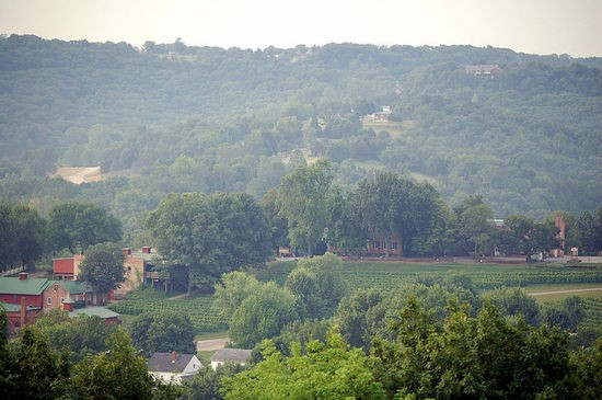 Stone Hill Winery (lower left) in Hermann - IMAGE VIA