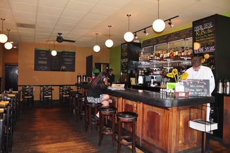 Inside Pomme Cafe & Wine Bar.   Tara Mahadevan