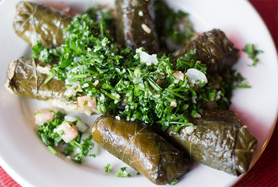 Stuffed grape leaves.
