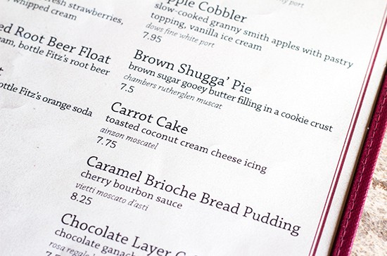 An entire menu for desserts.