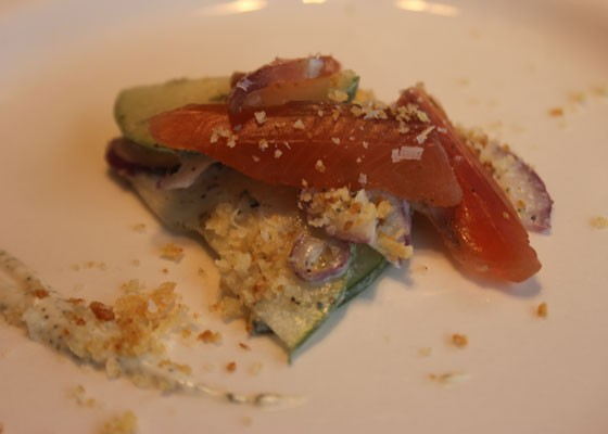 The salmon amuse bouche. | Nancy Stiles