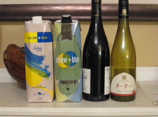 From left to right: two Tetra Paks, a standard glass bottle and a PET plastic bottle. - DAVE NELSON
