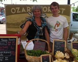 Nicola Macpherson and her son Henry at the Maplewood Farmers' Market. - HOLLY FANN