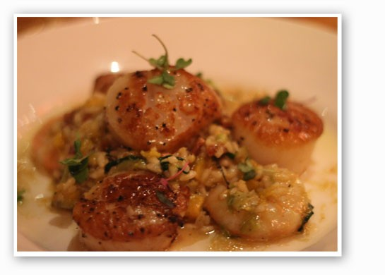 Maine sea scallops with shrimp, smoked bacon and pumpkin risotto. | Nancy Stiles