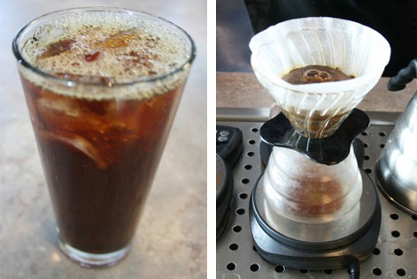 An iced coffee and its flash-brew process. - CHRISSY WILMES