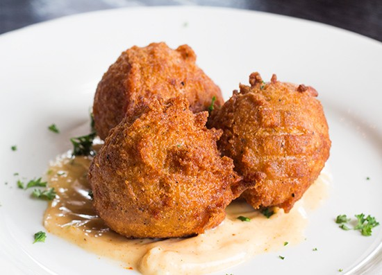 Hush puppies with housemade tarter sauce.