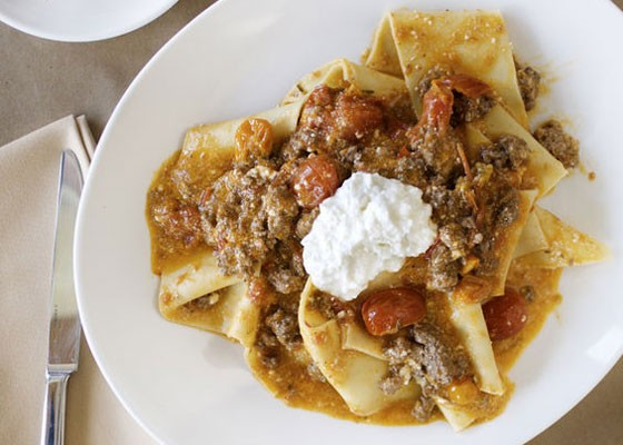 Pappardelle with lamb, pork, tomato and ricotta.   Jennifer Silverberg
