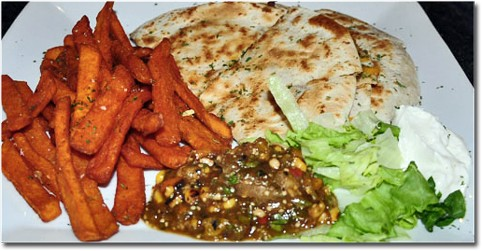 The mushroom quesadilla with sweet-potato fries at Sunset 44 Bistro. | Tara Mahadevan