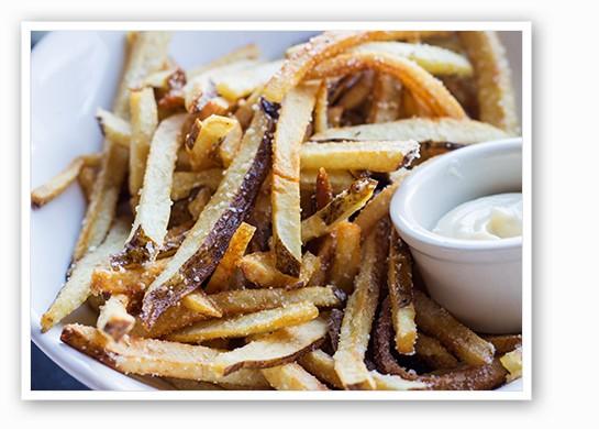 Truffle fries with shallot aioli, rosemary sea salt.   Mabel Suen