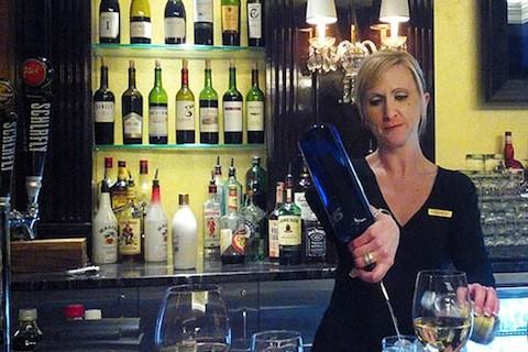 Monica Schepis behind the bar at the Ritz-Carlton | Kaitlin Steinberg