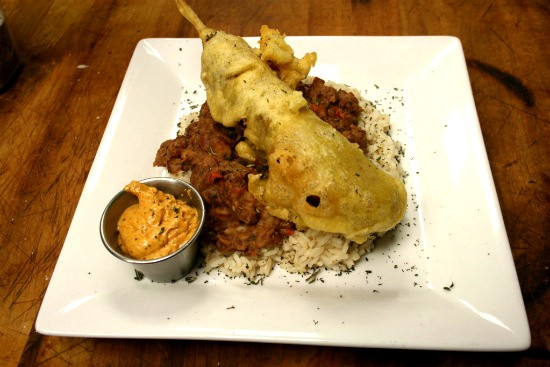 Andouille sausage corndog with red beans and rice - CHRISSY WILMES