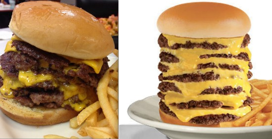 The Steak 'n Shake 7x7 Steakburger that Gut Check ordered (left) and the burger featured on the restaurant's Late-Night Menu
