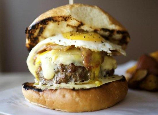 The burger at Home Wine Kitchen. - JENNIFER SILVERBERG