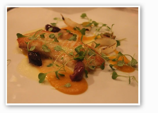 Montauk fluke, Matthew Brown pumpkin, pea shoots, olives, charred onion and beurre blanc. | Nancy Stiles