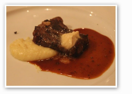 Mark Uthlaut Farm lamb chop, roasted garlic, yukon gold potato puree and LaBelle Farm foie butter. | Nancy Stiles