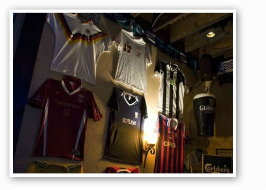 Proudly displayed jerseys at Amsterdam Tavern   RFT Photo