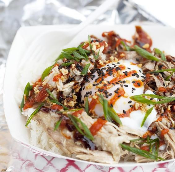"""The """"Flying Pig"""" -- roast pork over rice with a one-hour egg -- at Guerrilla Street Food - JENNIFER SILVERBERG"""