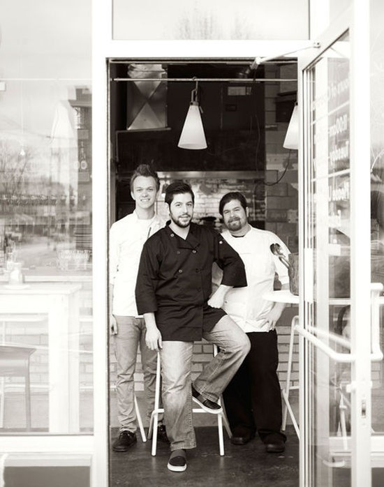 The kitchen team from Elaia: Josh Charles, owner Ben Poremba and John Messbarger - JENNIFER SILVERBERG