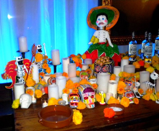 Festive decor at the Day of the Dead party. - DEBORAH HYLAND