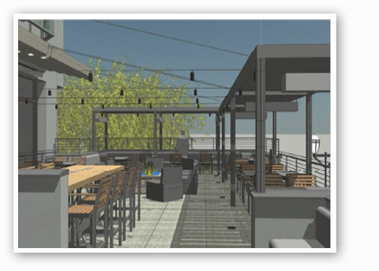 A rendering of what the patio at Edmonds Parkside Grill would've looked like. | Courtesy Mark Winfield