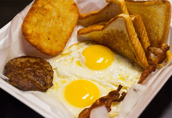 """Breakfast, like this """"Rise & Shine,"""" is served all day at Taste Budz Take Out.   Photos by Mabel Suen"""
