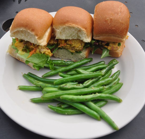 Substitute curried chicken for Match chicken, a vegan meat alternative.   Tara Mahadevan