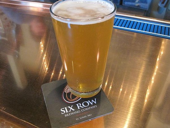 A pint of the Plant No. 1 Pre-Prohibition Pilsner at Six Row Brewing Company - SARAH BARABA