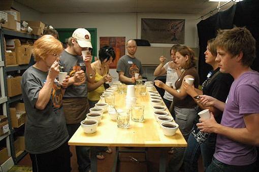 Kaldi's roaster Andrew Timko leads a cupping session. - PHOTO COURTESY JOSH FERGUSON