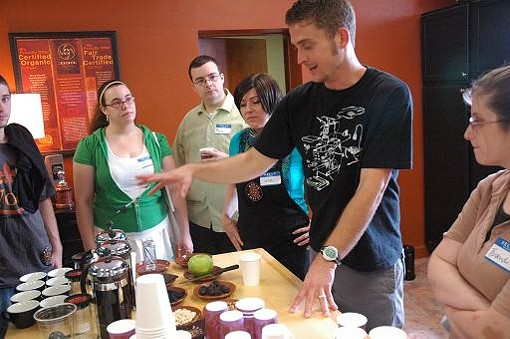 "Kaldi's Frank McGinty leads the ""Taste Evaluation Station"" - PHOTO COURTESY JOSH FERGUSON"