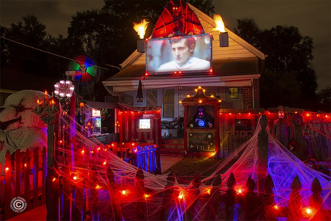 This house, on Overland's Windom Drive, is a fright fest, complete with The Exorcist screening. - COURTESY OF HOLIDAYLIGHTHOPPING.COM