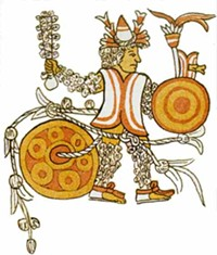 Aztec warrior, presumably not about to be electrocuted.