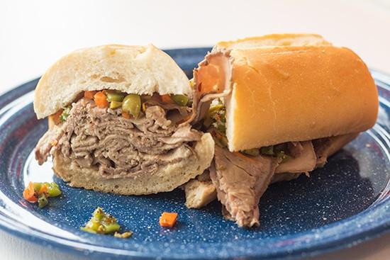 """The Little Dipper"" sandwich: Italian beef with giardiniera. | Photos by Mabel Suen"