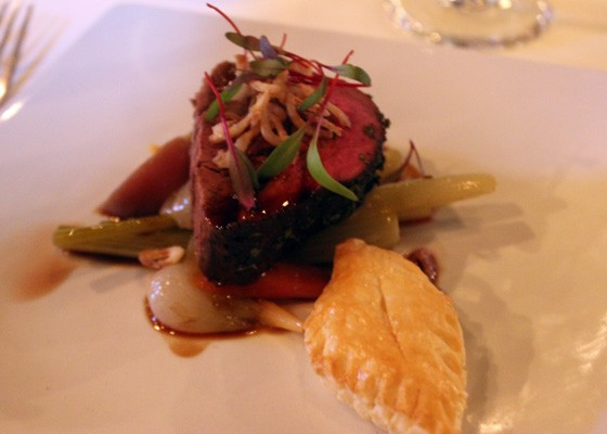 Whole roasted prime beef tenderloin on mille-feuille pastry shell braised local root vegetables and crispy shallots, cabernet sauvignon reduction sauce, which was paired with the 2012 Emmolo Merlot. | Nancy Stiles