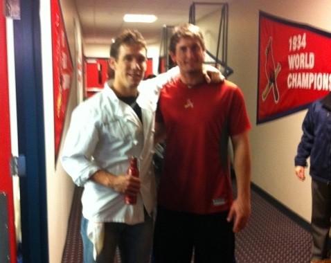 Eric Scholle of Farmhaus with World Series MVP David Freese - VIA TWITTER