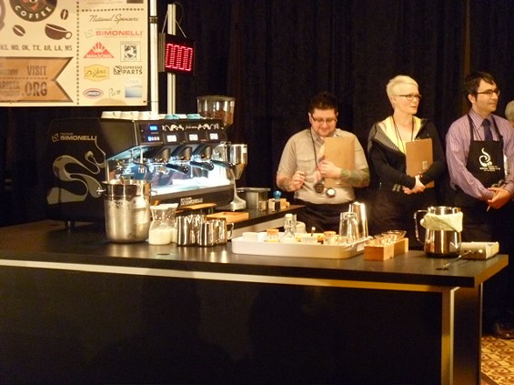 The setup at one of the stations at the South Central Regional Barista Competition.