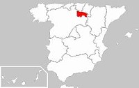 """The Rioja region is highlighted in red. - USER """"QUADELL,"""" WIKIMEDIA COMMONS"""