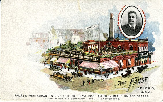 A postcard circa 1900 featuring Tony Faust's Oyster House. | Courtesy Anheuser-Busch