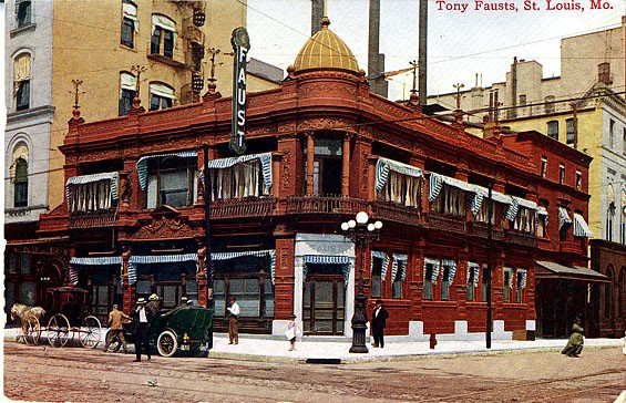 A postcard featuring a photograph of Faust's Restaurant around 1908, two years after Tony died while vacationing with Adolphus Busch in Germany. | Courtesy Anheuser-Busch
