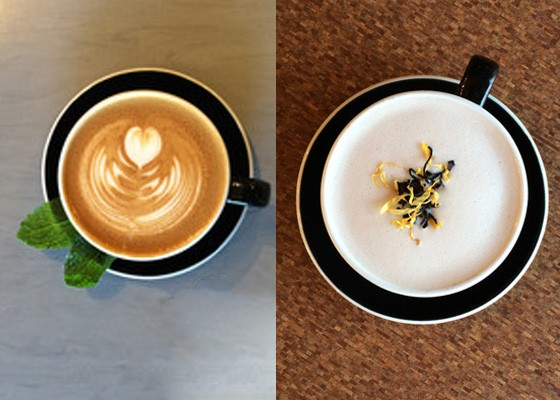 "The fresh mint latte and the ""Winter Breakfast Tea"" latte. | Courtesy Kaldi's Coffee"