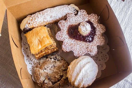 Assorted pastries from the shop: baklava, cannoli, frangipane and cookies.