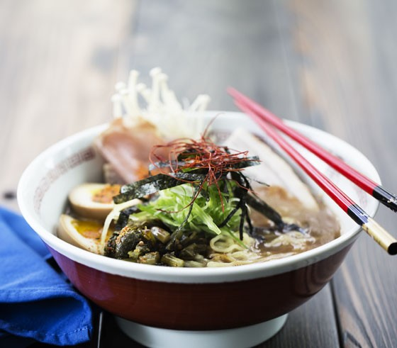 Tonkotsu ramen with pork belly and loin, soft boiled egg, black garlic oil and mushroom. - JENNIFER SILVERBERG