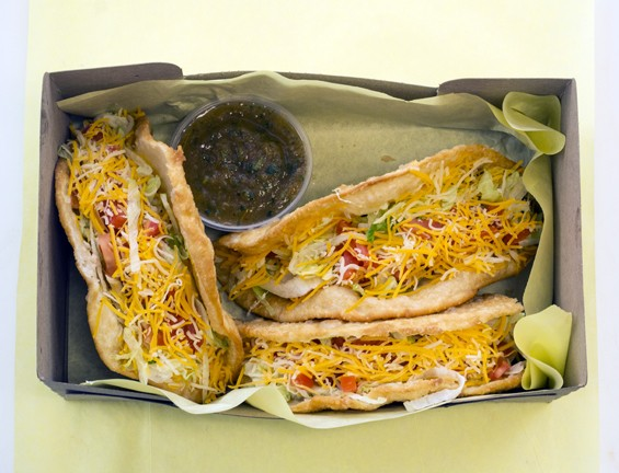 "A box of Fort Taco's ""Traditional Soft Shell Tacos."" 