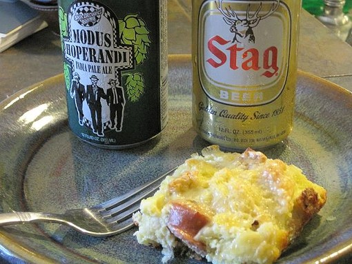 Savory bread pudding and beer. - ROBIN WHEELER